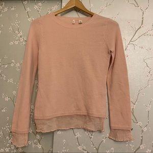 Anthropologie Moth Pink Sweater Crewneck Wool M